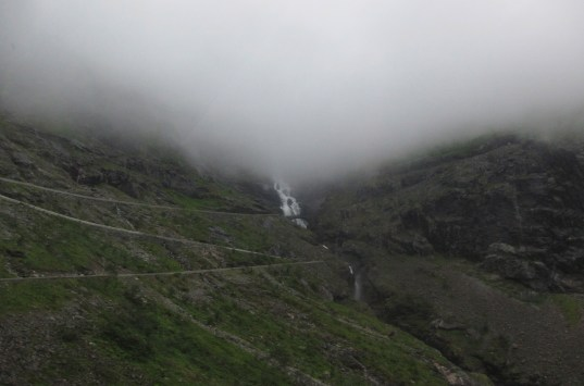 The switch backs at Trollstigen. Oh yes, they go way up those clouds, and no, there is not more than one lane.