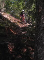 Karin riding a tricky corner