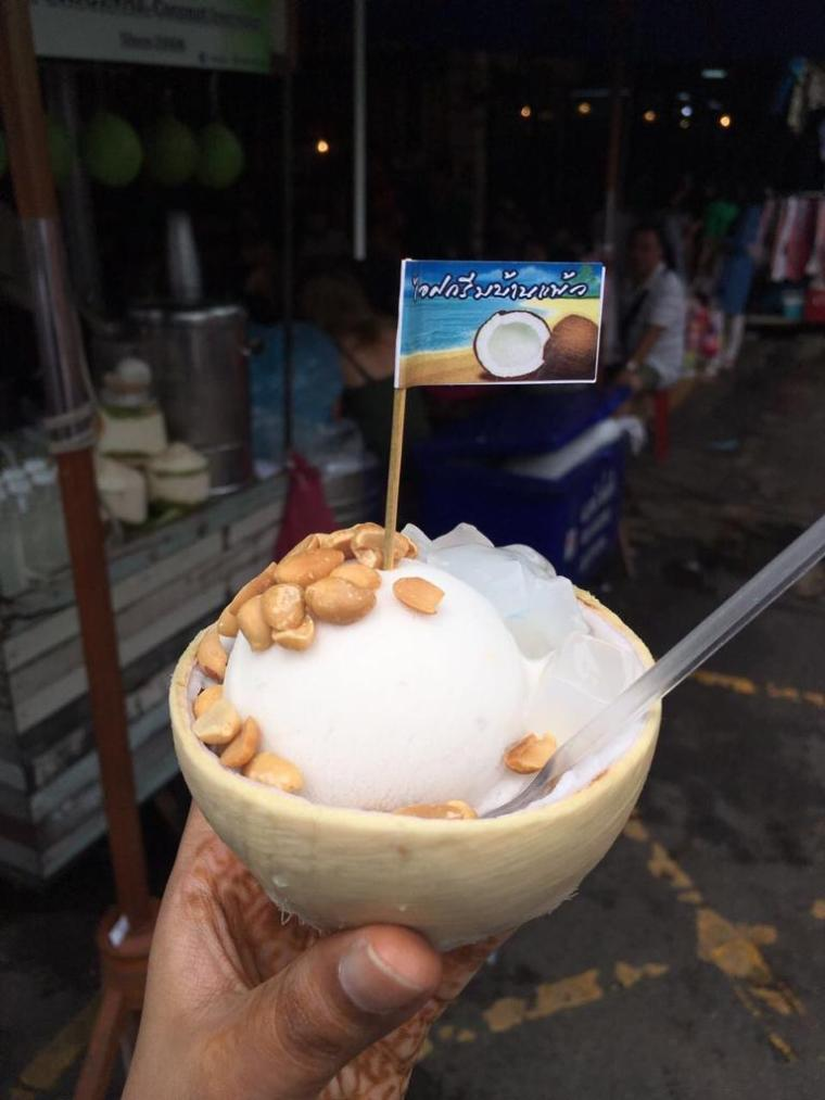 Coconut Ice cream with peanuts in Bangkok