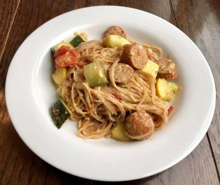 One Pan Chicken Sausage and Summer Vegetable Pasta