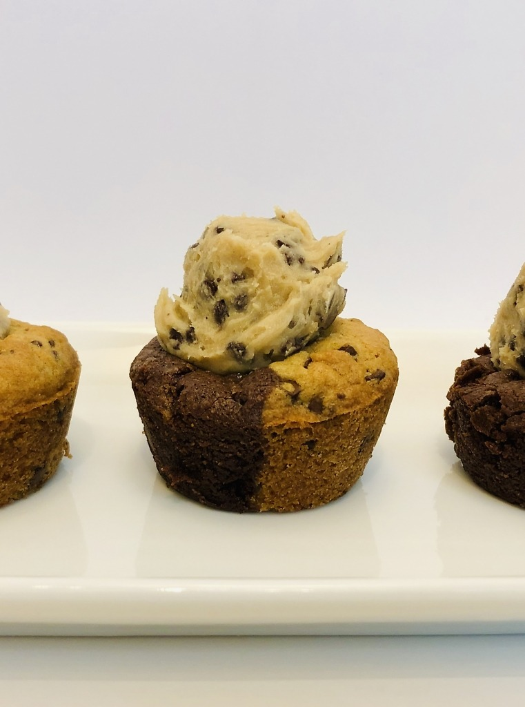 Brookie cupcakes with cookie dough frosting