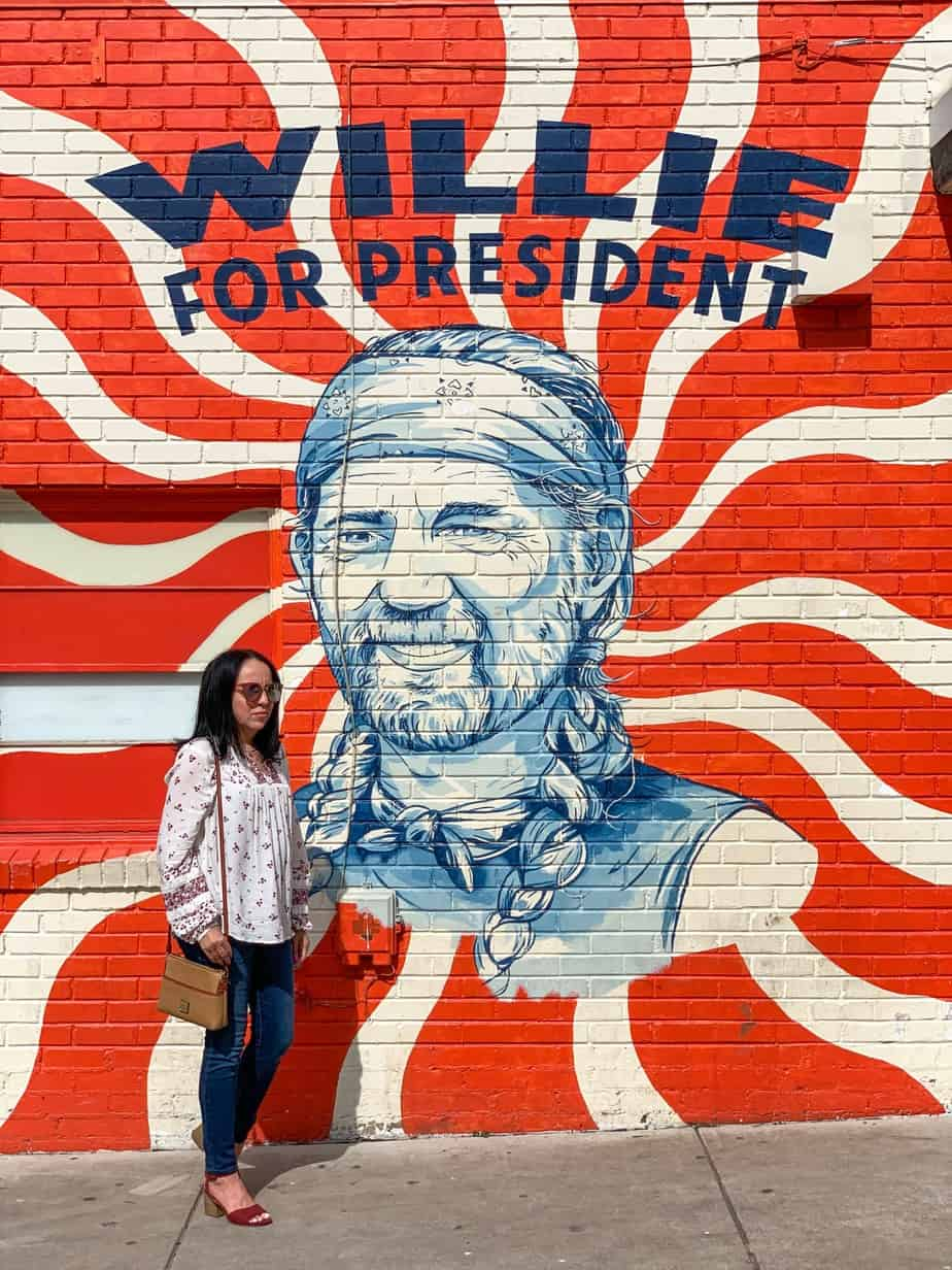 willie for president mural in austin