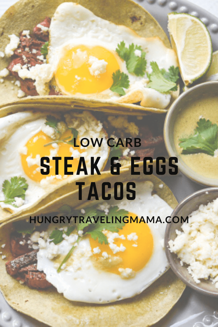 Low carb keto steak and eggs tacos