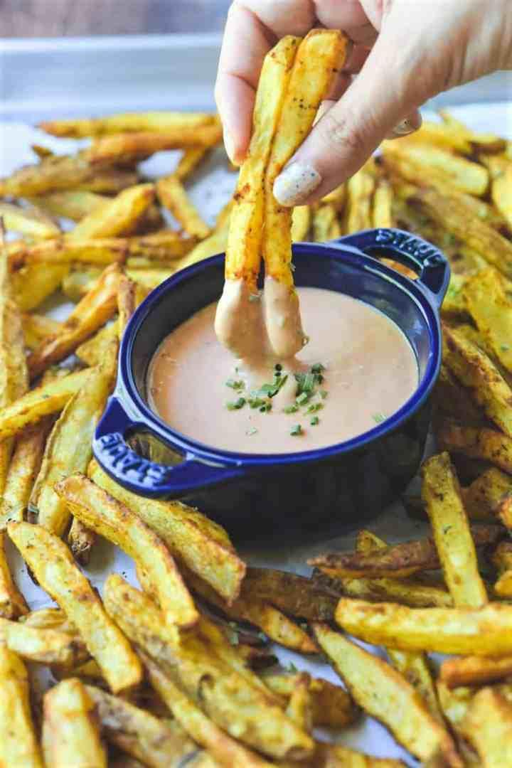 air fried seasoned fries with mayo ketchup