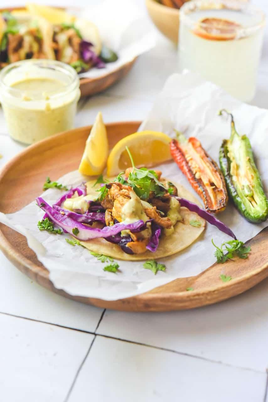 """Easy Vegan """"Fish"""" Oyster Mushroom Tacos"""