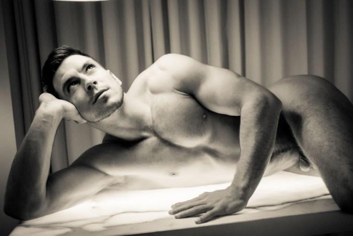 Naked British man Paddy O'Brian