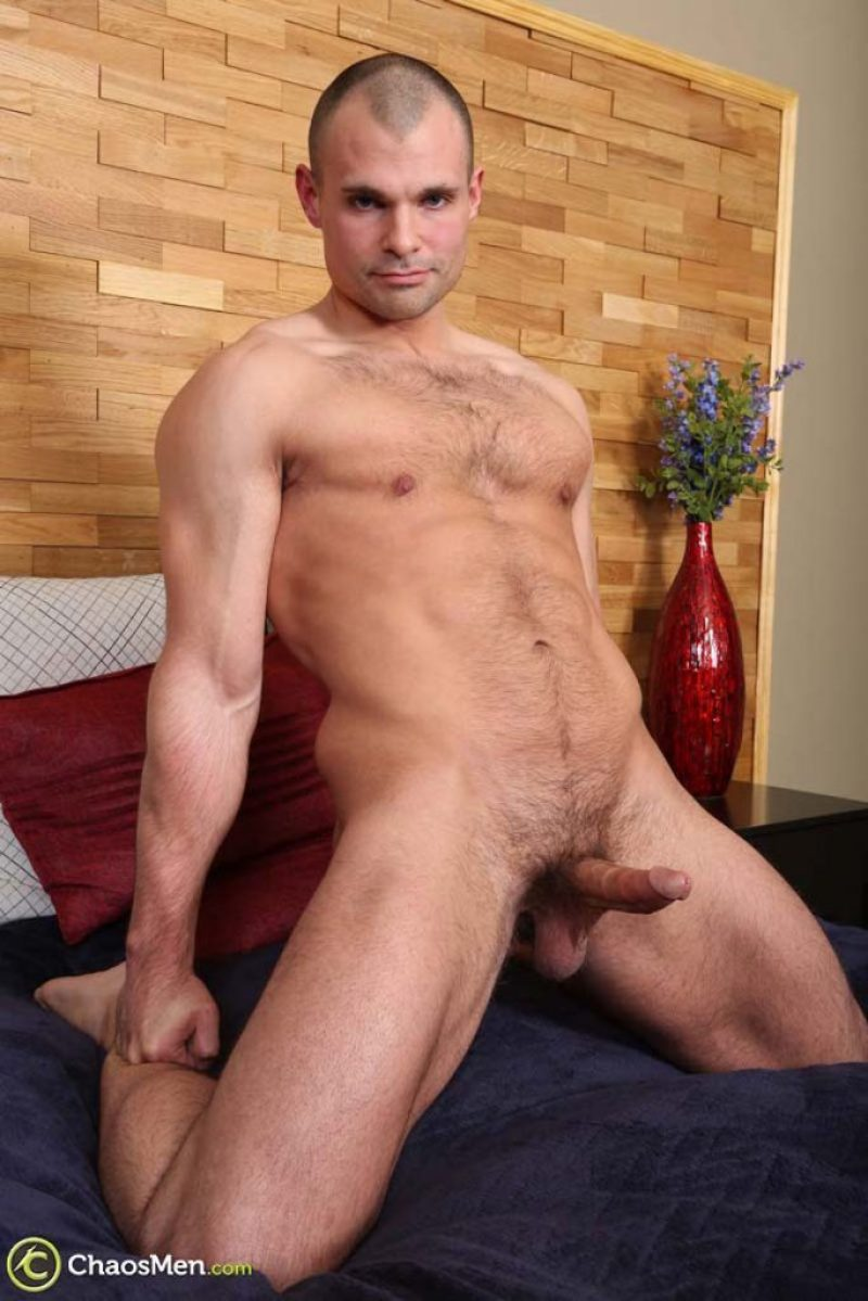 Hard and hairy hunk naked and jerking