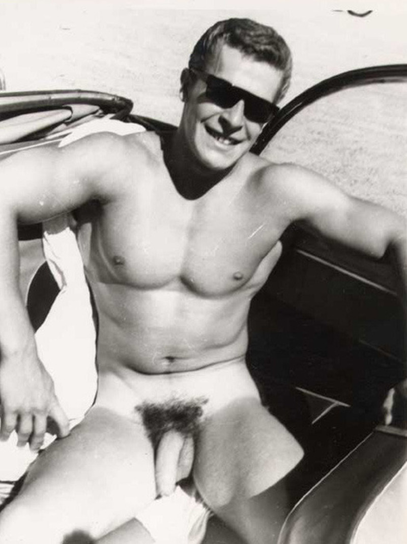 Helmut Riedmeier naked and showing his long uncut cock while sitting in a car