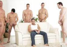 Men wanking together in a bukkake video