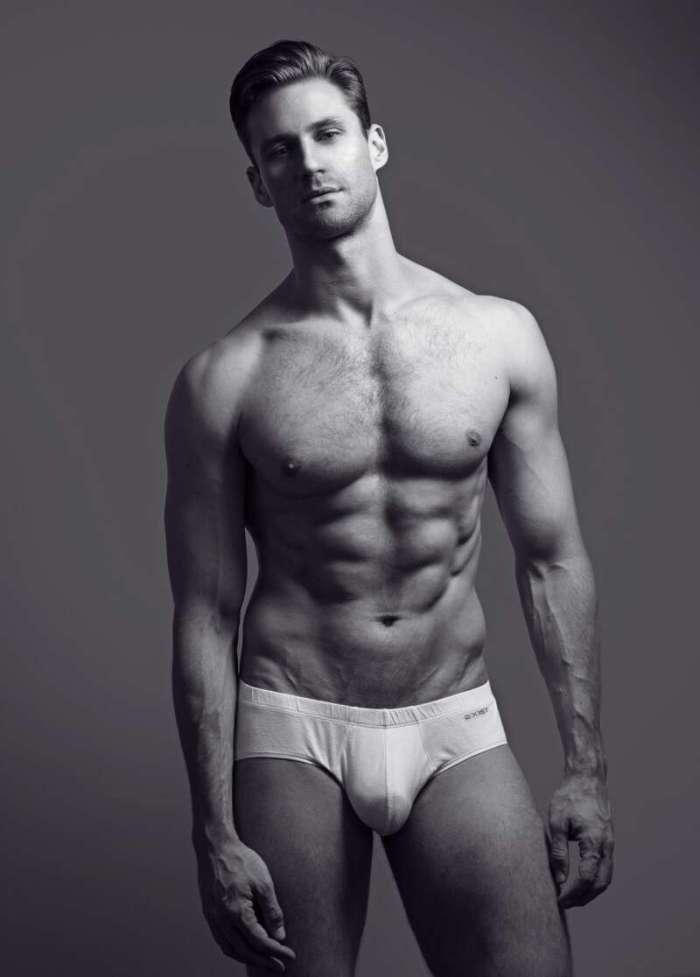 male model Nicholas Cunningham showing his cock bulge