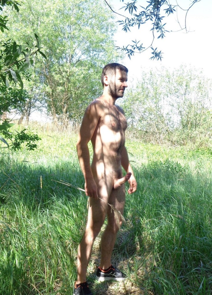 naked hairy guy standing in a meadow with his hard cock pointing up