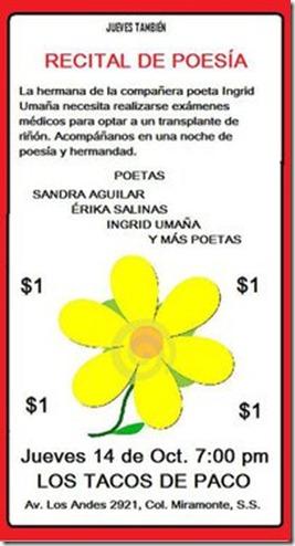 Recital de poesía en los Tacos de Paco Jueves 14 de Octubre, 7:00 pm