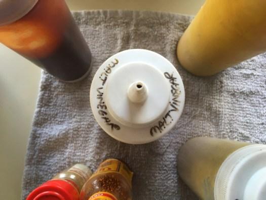 Image: sauce bottles and malt vinegar