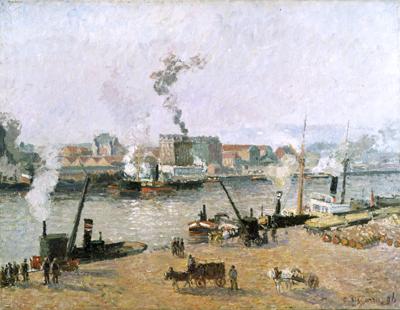 Camille Pissarro. Misty Morning, Rouen, 1896.