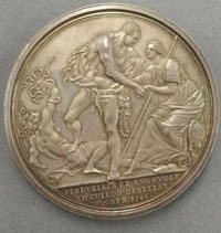 Medal depicting Hercules trampling on Discord and raising Britannia.