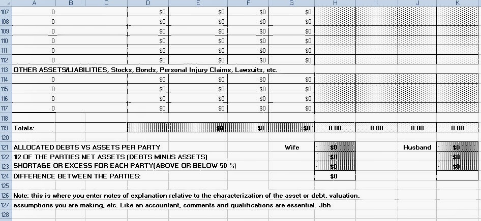 Family Law Practice Tip Equitable Distribution and Alimony – Equitable Distribution Worksheet