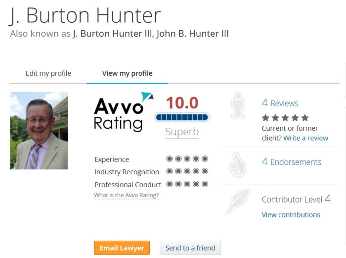 J. Burton Hunter III Avvo.com rating.