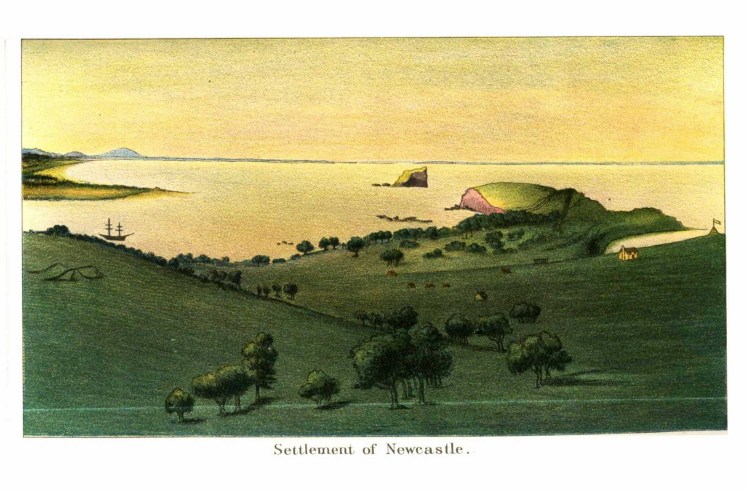 Ferdinand Bauer c.1860s copy of 1804 original -'Settlement at Newcastle' (HRNSW, V5, page 368a)