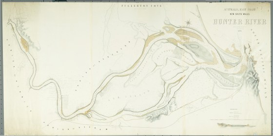 Australia East coast New South Wales 1871 Hunter River surveyed by J.T.Gowlland assisted by J.F. Loxton (Courtesy of the National Library of Australia)