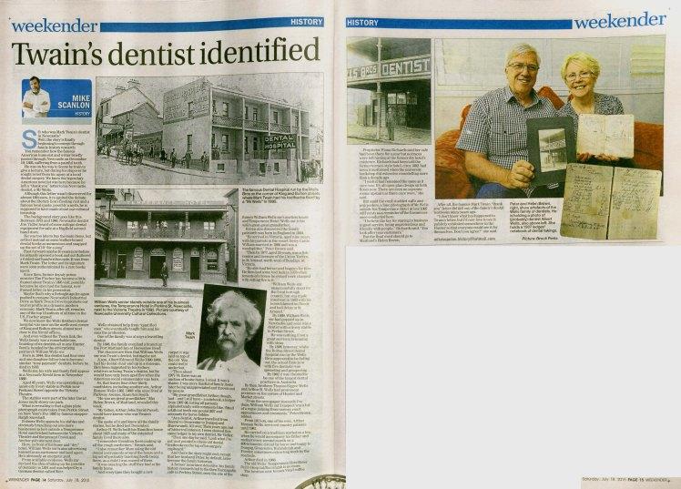 """""""Twain's dentist identified"""" - Mike Scanlon, (Courtesy Newcastle Herald Weekender, 18 July 2015 pp14-15)"""