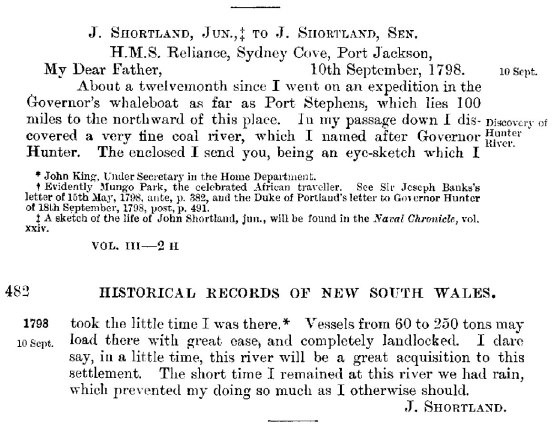 J. Shortland Jnr to J. Shortland Snr. 10 September 1798 (HRNSW Vol. 3 pp481-482)