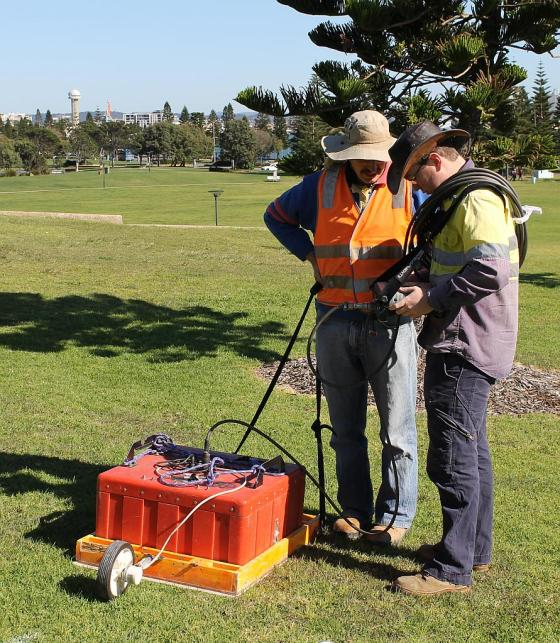 Calibrating for start of GPR (Photo: Russell Rigby)