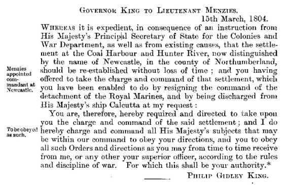 Governor King to Lieutenant menzies 15th March 1804 (HRNSW)
