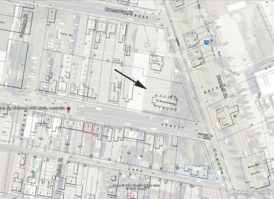 Location of St James' Church in Dixon St (in 1897) now Church St (2013) (Overlay by Gionni Di Gravio)