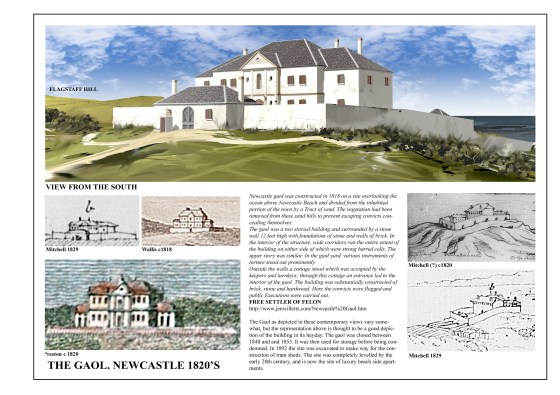 Newcastle Goal, once overlooking Newcastle Ocean Baths rendered by Charles Martin 2013