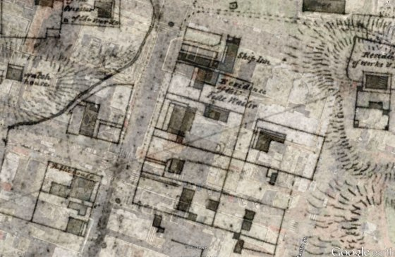 Overlay of 1830 Armstrong Plan showing Residence of the Tide Waiter.