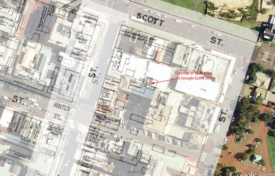 Site of James Clark, Sailmaker's premises, 1876 (Google Overlay 2013 by Gionni Di Gravio)