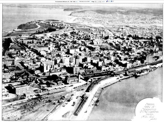 AERIAL VIEW OF NEWCASTLE (N.S.W.), LOOKING SOUTH. (Milton Kent photo.) The Australasian, 22 June 1929 p.71 (TROVE)