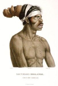 Nicholas-Martin PETIT. France 1777 – 1804 /1805 print after Barthélemy ROGER France 1767 – 1841 engraver .Nouvelle Hollande. Cour-Rou-Bari-Gal 1807. National Gallery of Australia.