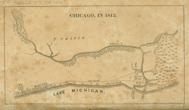 """Chicago, in 1812"" Juliette Augusta Magill Kinzie. From Narrative of the Massacre at Chicago, August 15, 1812, and of Some Preceding Events, 1844."