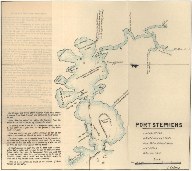 Published Version of Charles Grimes 1795 Map of Port Stephens. Insert between Pages 286-287 Historical Records NSW Vol 2.