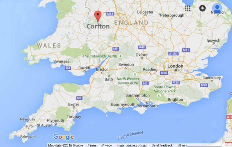 Molly Morgan's birthplace of Corfton in England