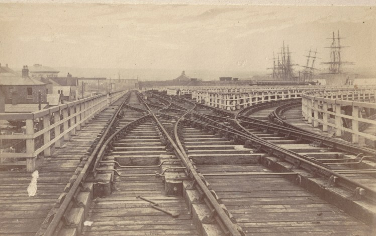 Railway Tracks on Government Staithes Newcastle circa 1870s (Photo Credit: Photographed by Beaufoy Merlin No. 58446. Digitised by Anne Glennie from Glennie Family Albums)