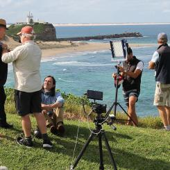 Coal Australia Season 3 on location in Newcastle & Stockton, April 2016.Coast Australia Production Crew at Fort Scratchley with Nobbys in background