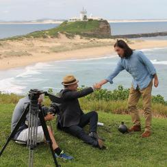Coast Australia Production Crew at Fort Scratchley with Nobbys in background