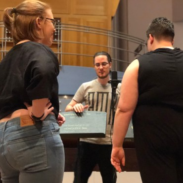 Singers – Alexandra Cuthbert-Freese (Evangeline); Gabrielle Newland (Try again, Johnnie); Eden Dennis (Three Little Maids) with sound engineer Ryan Huthnance for the Victoria Theatre 3D Reconstruction Project