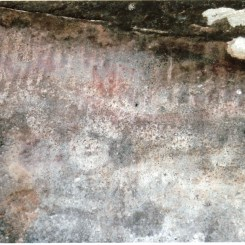 """Photo Credit: Jim Mitchell 2015. Annotation by Brian Laut on reverse side of photograph: """"Bands of white stripes around cave walls - might have been counting..."""""""
