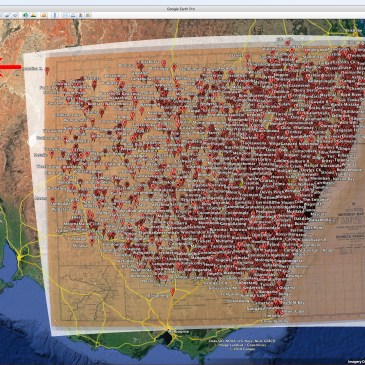 Google Earth with overlay of 1938 Criagies Motor Map and 5,500 Place Names of Aboriginal and European Origin across NSW