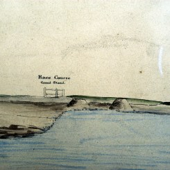 Race Course from William Keene (Examiner of Coal Mines) Copy of Stratigraphic sketch from Nobby's Island Newcastle to Burwood, showing coal seams and their Order of Superposition. 31 May 1854. Photographed by Bruce Turnbull. Archives Authority Map No. SZ325 (Courtesy State Archives of NSW)
