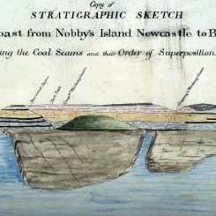 Title from William Keene (Examiner of Coal Mines) Copy of Stratigraphic sketch from Nobby's Island Newcastle to Burwood, showing coal seams and their Order of Superposition. 31 May 1854. Photographed by Bruce Turnbull. Archives Authority Map No. SZ325 (Courtesy State Archives of NSW)