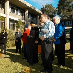 Gathering at McMullin Courtyard 10 July 2003Laurie Tremenheere placed the ashes of the Professor under the tree.