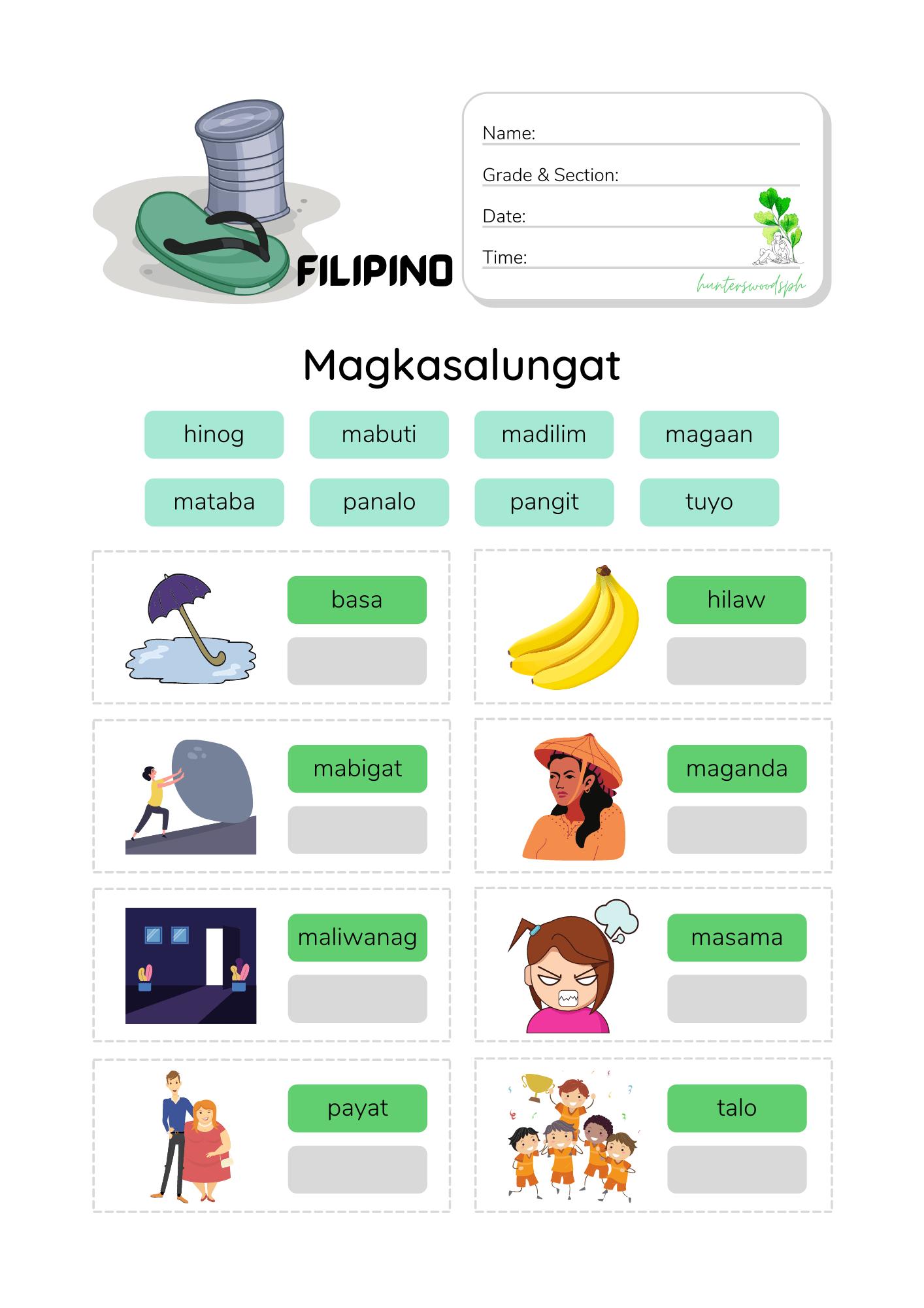 2 Magkasalungat Quiz Worksheet for Grade 2
