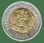 Philippine money 10 peso coin