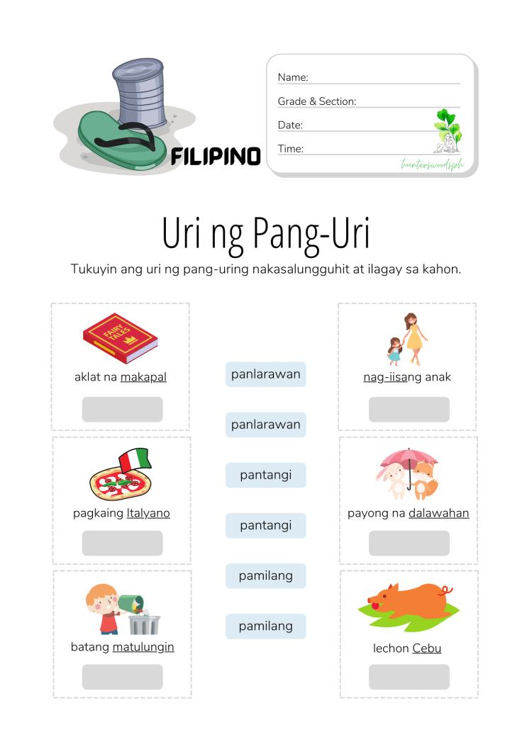 Uri ng Pang-uri Worksheet for Grade 3