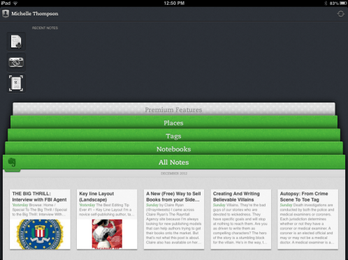 Evernote (iPad) app - General Front Page - for overall research
