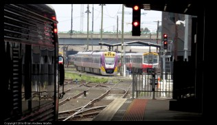 Velocity and Sprinter DMUs at the fueling facility at Southern Cross